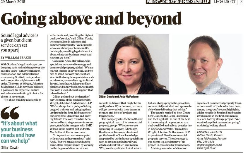 WJM Partners Feature in Times Scotland LegalScot Supplement