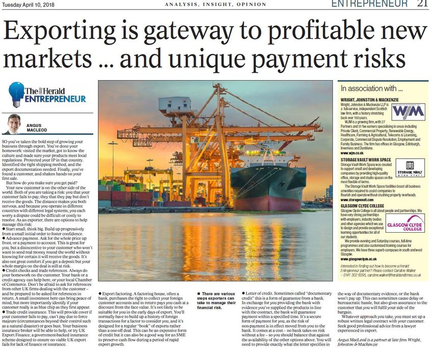 Angus Macleod Writes about Exporting and Financial Risk in The Herald