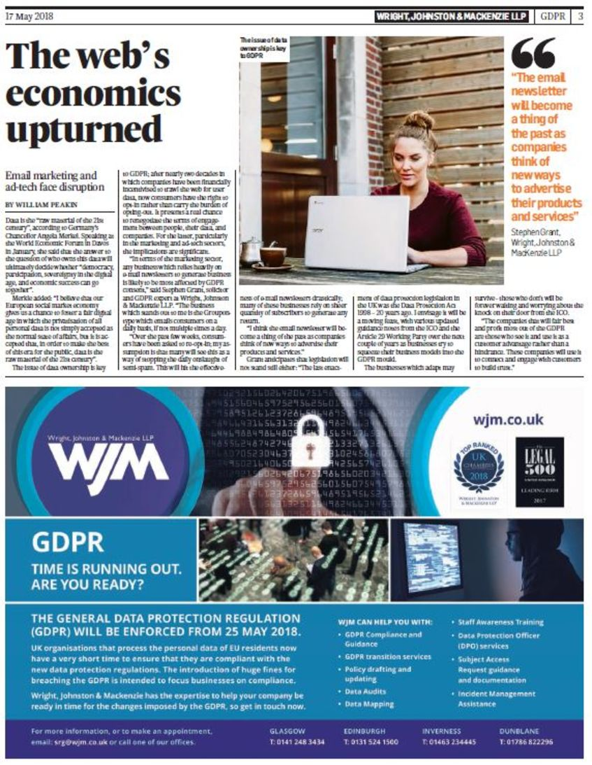 Stephen Grant Talks GDPR in The Times Scotland