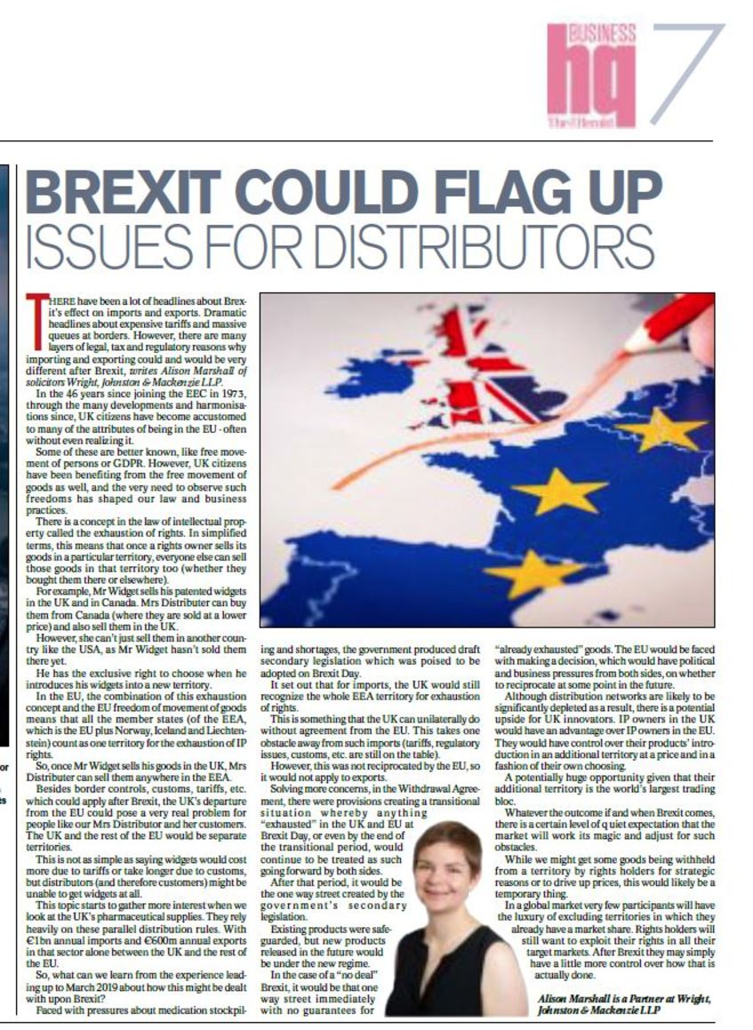 BREXIT COULD FLAG UP ISSUES FOR DISTRIBUTORS