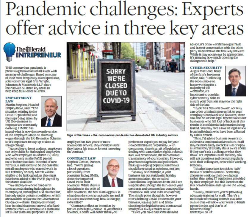 WJM Experts Offer Advice in The Herald